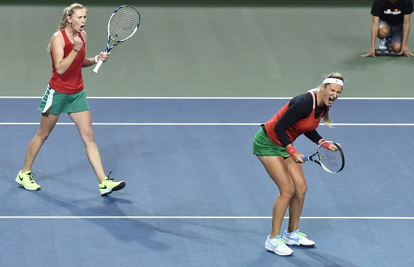 Azarenka and Govortsova in action (Getty/AFP/Kazuhiro Nogi)