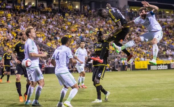 Kei Kamara heads down a corner kick for a goal against Brad Evans and the Seattle Sounders | Matt Ellis - Columbus Underground