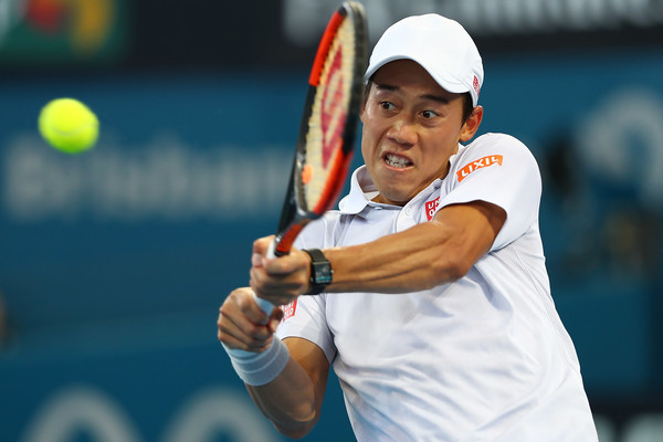 Kei Nishikori in action during the 2017 Brisbane International, reaching the final | Photo: Chris Hyde/Getty Images AsiaPac