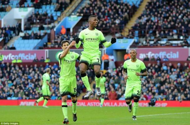 Iheanacho celebrates scoring a hat-trick against Aston Villa last season | Photo: Getty Images