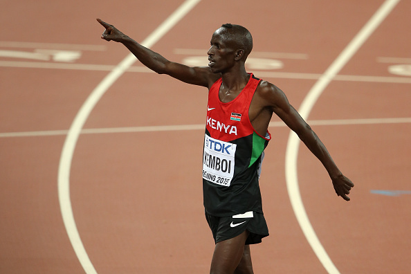 Ezekiel Kemboi after winning the gold medal at the World Championships last year (Getty/Lintao Zhang)