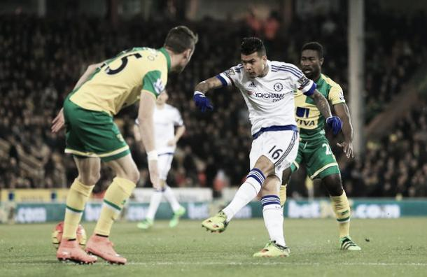 Kenedy scores in Chelsea's 2-1 win over Norwich City on Tuesday night. | Image source: Getty Images
