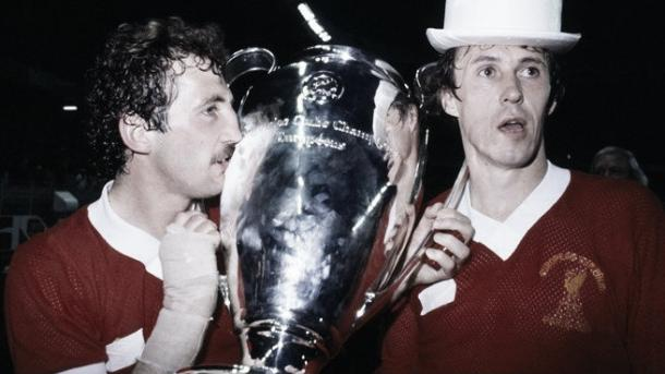 Alan Kennedy and Phil Neal celebrate with the European cup in 1981 (image:uefa.com)