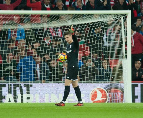 Kepa durante un partido con el Athletic | Foto: Athletic-club.eus