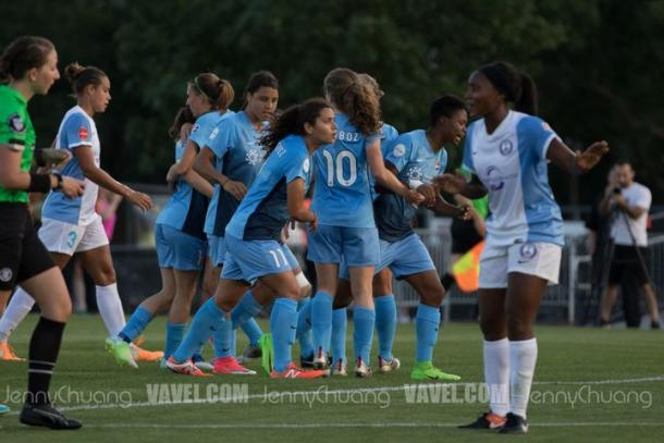 Sam Kerr celebrates with her team after scoring the second Sky Blue FC goal | Source: Jenny Chuang - VAVEL USA
