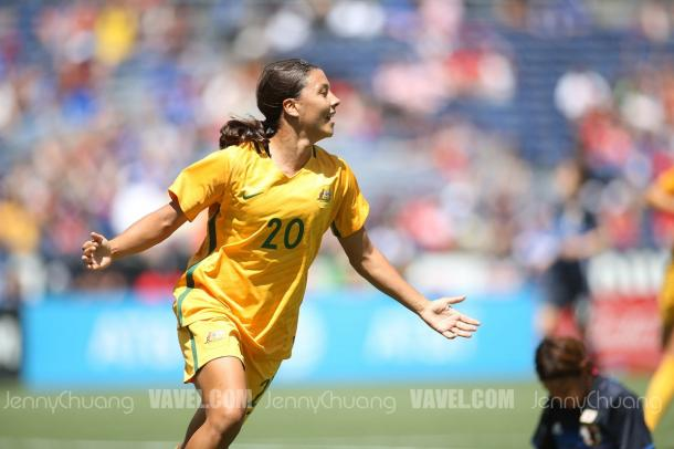 Sam Kerr celebrating her hat trick against Japan l Source: Jenny Chuang - VAVEL USA