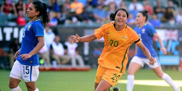 Sam Kerr, 1 goal and 2 assists for Australia. | Photo: The Westfield Matildas Twitter - @TheMatildas