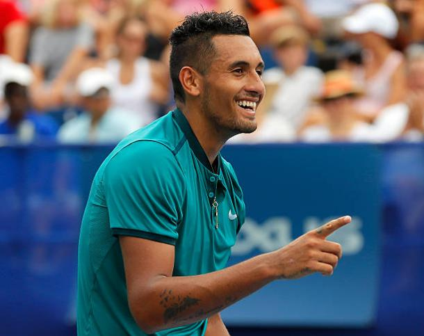 Nick Kyrgios celebrates after beating John Isner in the final last year (Getty/Kevin C.Cox)