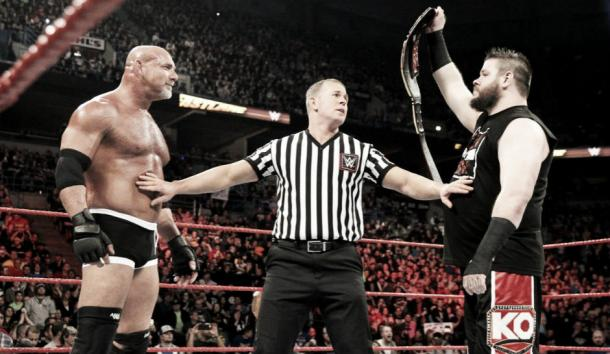 Owen lost his Universal Title at the hands of Goldberg (image: TheInquisir)