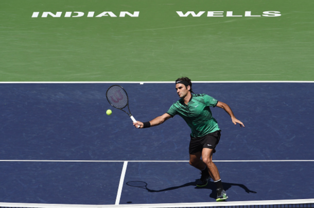 Federer will look to get to the net often against Wawrinka in the final. Credit: Kevork Djansezian/Getty Images