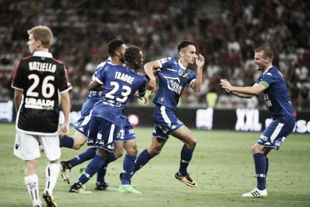 Khaoui celebra su gol ante el Niza. Foto: Sitio oficial del Troyes.