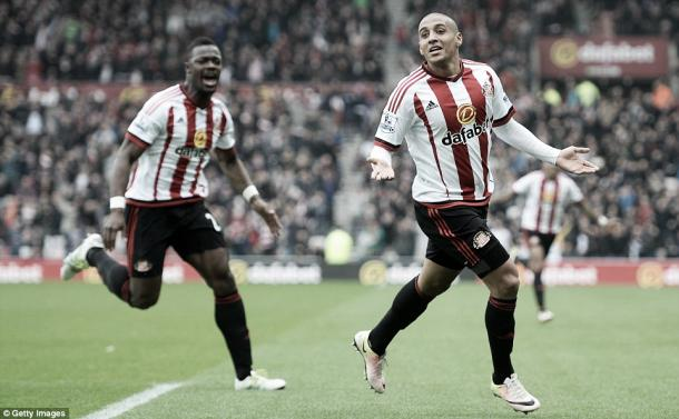 Above: Wahbi Khazri celebrating his goal in Sunderland's 3-2 win over Chelsea | Photo: Getty Images