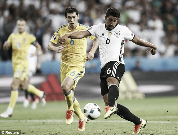 Above: Sami Khedira striking in Germany's 2-0 win over Ukraine | Photo: Reuters