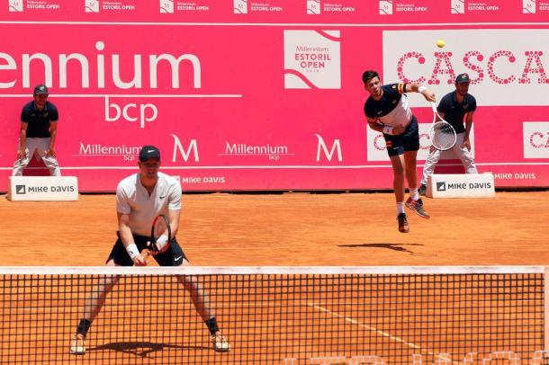 Kyle Edmund and Cameron Norrie playing doubles side by side during the final where they won their first ATP title. (Photo by Millennium Estoril Open)