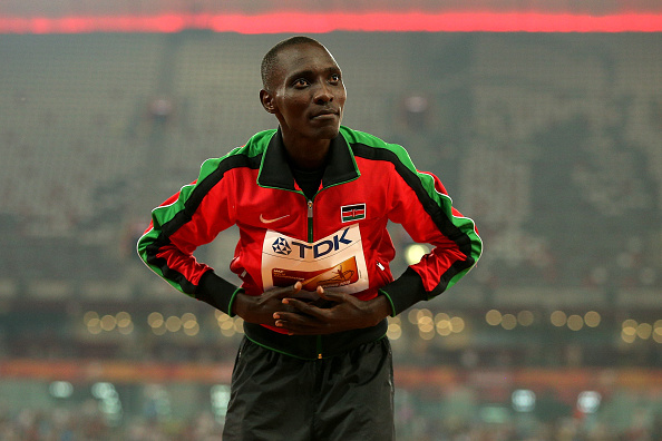 Asbel Kiprop receiving the gold medal at the World Championships last year (Getty/Patrick Smith)