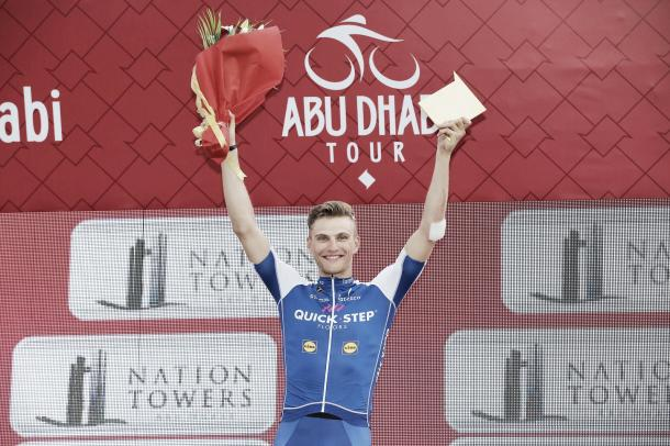 Marcel Kittel en el podium de Abu Dhabi  Fuente: Quick-Step Floors
