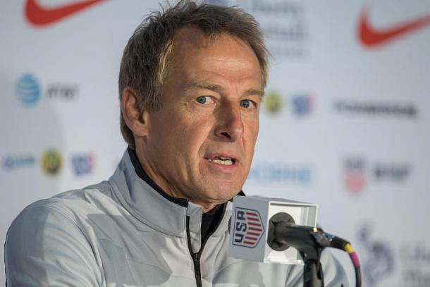 Jurgen Klinsmann speaking at a press conference ahead of the USA's first final phase World Cup qualifying match against Mexico. (Photo credit: MedioTiempo)