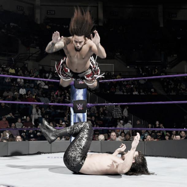 A veteran move by Kendrick. Photo- WWE.com