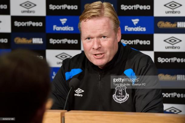 Koeman addresses the media. Source - Getty Images.