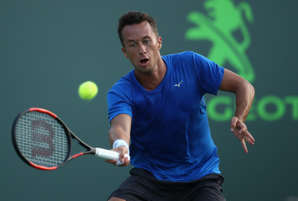 Philipp Kohlschreiber hits a forehand during his third round loss. Photo: Julian Finney/Getty Images