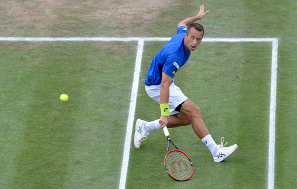 Kohlschreiber plays a backhand during his semifinal win. Photo: Getty Images