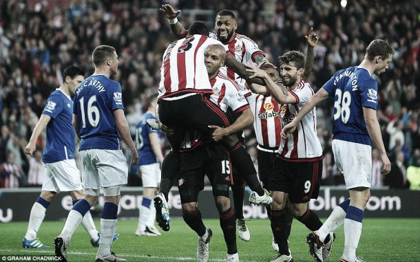 Above: Sunderland AFC celebrate one of Lamine Kone's two goals in their 3-0 win over Everton | Photo: Graham Chadwick