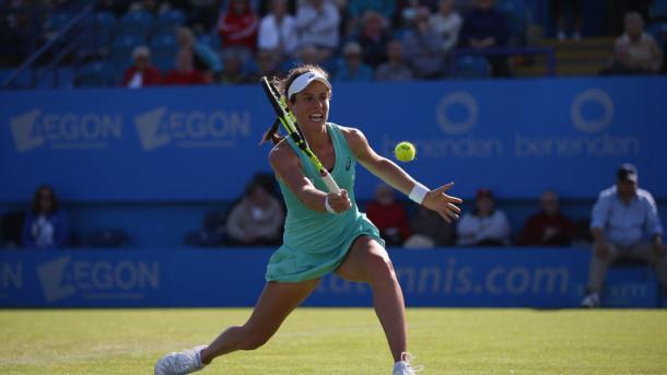 Konta in action against Kvitova yesterday / Sky Sports