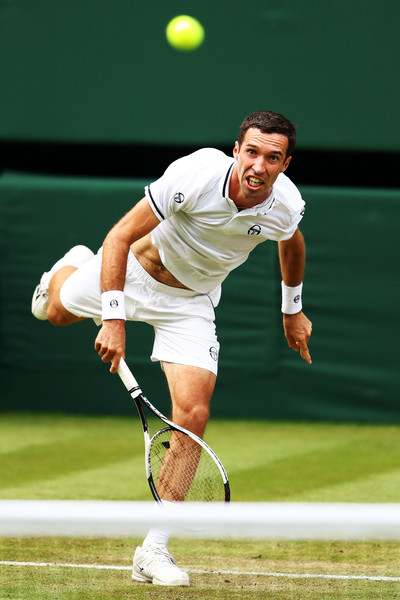 Kukushkin smacks one of his big serves against Nadal. Photo: Michael Steele/Getty Images