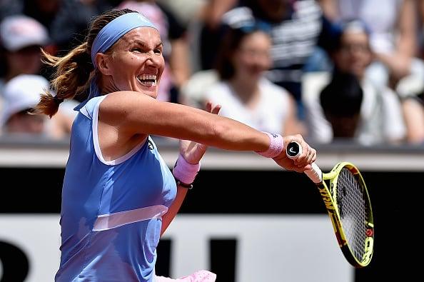 Svetlana Kuznetsova in action against Caroline Garcia in the first round (Getty/Dennis Grombkowski)