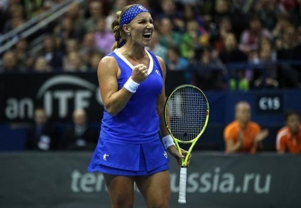 Svetlana Kuznetsova in action last weekend in the World Group I. Photo: Fed Cup