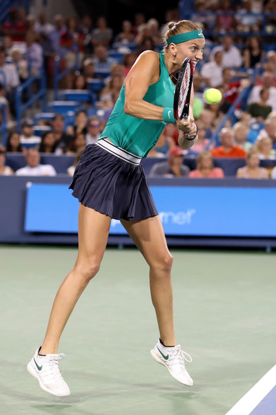 Petra Kvitova crushes a backhand during the win over Williams. Photo: Rob Carr/Getty Images