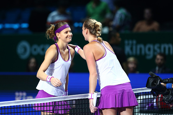 Kvitova and Safarova at the WTA Finals (Getty/Clive Brunskill)