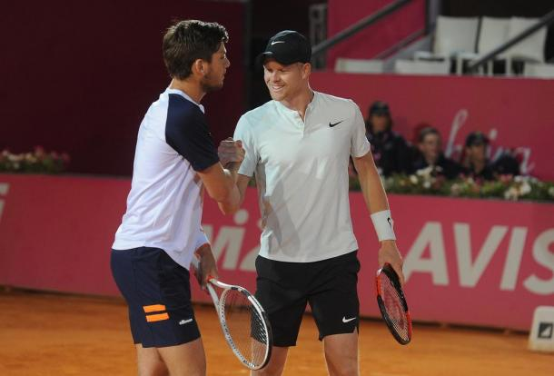 Cameron Norrie and Kyle Edmund celebrating their access to the doubles final at the Millennium Estoril Open. (Photo by Millennium Estoril Open)