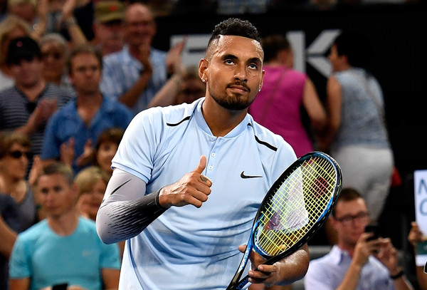 Kyrgios celebrates beating Harrison in the Brisbane final. Photo: Bradley Kanaris/Getty Images