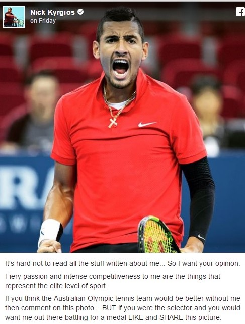 Kyrgios' Facebook post asking for fans to show their support for him. Photo: Nick Kyrgios' Facebook