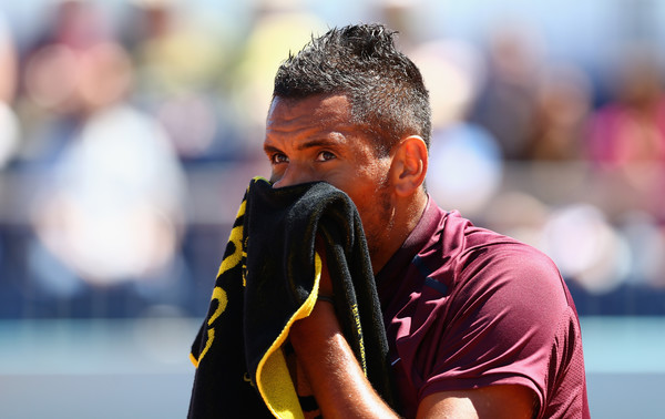 Kyrgios looks frustrated during a match in Madrid. Photo: Getty Images