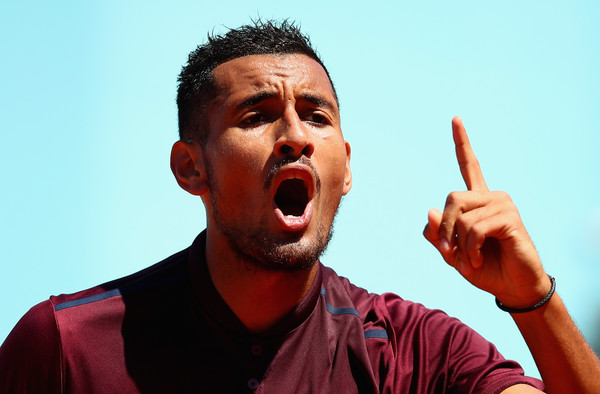 Kyrgios mouths off to an umpire in Madrid. Photo: Clive Brunskill/Getty Images