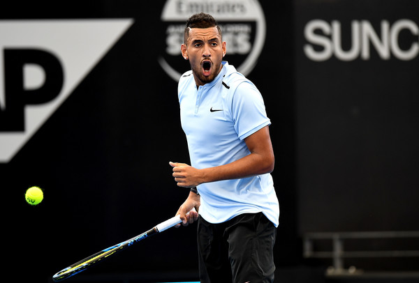 Nick Kyrgios celebrates a point during his comeback win over Dolgopolov. Photo: Bradley Kanaris/Getty Images