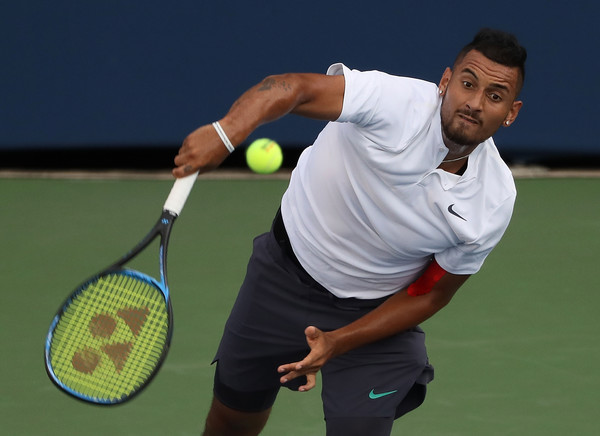 If one thing was working well for Nick Kyrgios during his opening-match loss in Toronto, it was his serve. Photo: Kevin C. Cox/Getty Images