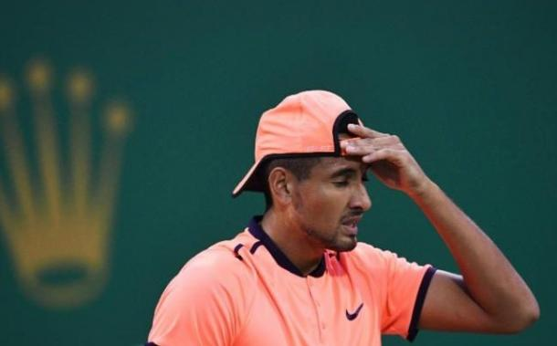 Nick Kyrgios shows some frustration during his second round tank. Photo: Getty Images