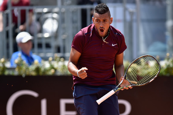 Nick Kyrgios celebrates during his first round win. Photo: Dennis Grombkowski/Getty Images