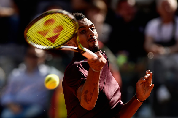 Nick Kyrgios drives a forehand during his third round match. Photo: Dennis Grombkowski/Getty Images