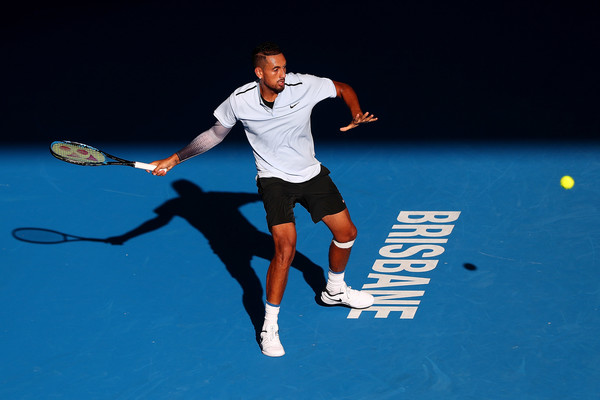 Kyrgios lines up a forehand on his way to the Brisbane final. Photo: Chris Hyde/Getty Images