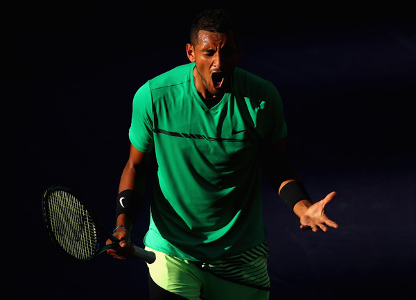 Nick Kyrgios reacts to a point during his fourth round win. Photo: Clive Brunskill/Getty Images