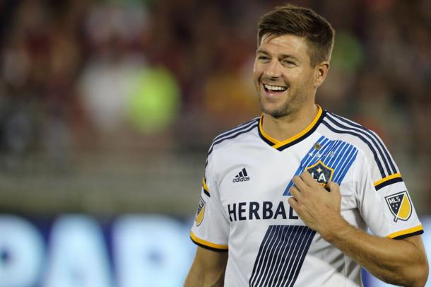 Steven Gerrard can potentially play in his first match for the LA Galaxy on Friday against the Houston Dynamo, since March 19th. Photo provided by Getty Images.