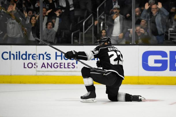 The Kings won 5-4 and Dustin Brown got four of the goals.  (AP Photo/Mark J. Terrill)