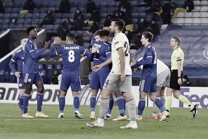 Festejo del Leicester en el segundo gol. Foto: Leicester.