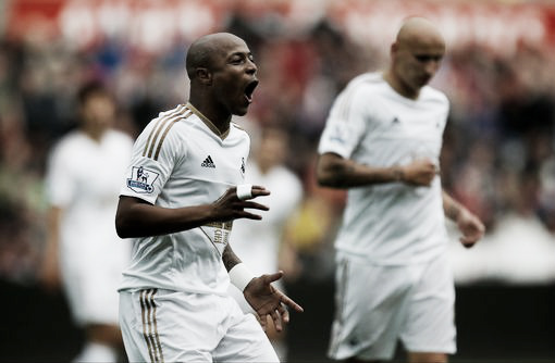 Andre Ayew has not had the best first season for Swansea City but a winning or tying goal against Leicester City might erase that. Photo provided by PA Wire.