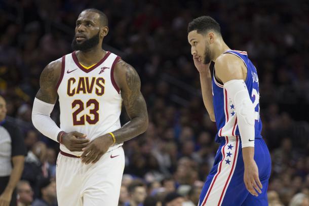 LeBron James en su partido contra los Sixers | Fuente: Mitchell Leff / Getty Images