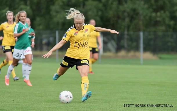 Mykjaland in action. | Image credit: Stoett Norsk Kvinnefotball